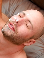 Bald daddy gets facial cumshot from his buddy