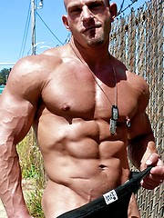 Hot outdoor set of ripped bodybuilder from So Cal