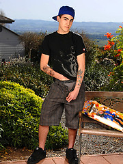 Skater boy in outdoor softcore scene