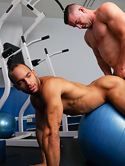 Sean spread his legs open on his back on the workout bench and Kai Madison fucked the cum out of him