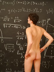 Boy model Dimax jerking off in the classroom