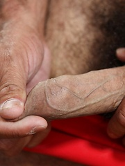 Hairy Latin bear Marco Rios loves anything hot and spicy to heat him up and make him sweat