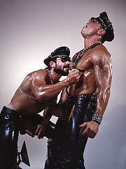 Hot muscled hunks in leather clothes in one hardcore scene