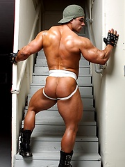 Enzo Pileri , muscle man shows cock