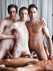 Michael Lucas, Seth Roberts, Dirk Wakefield, and Seamus OReilly Have Bareback Sex
