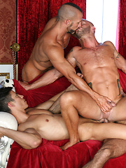 Three guys bangs one hungry gay hole