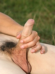 Nice gay boy jerking off on the nature