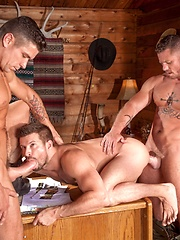 Gay threesome in hunting lodge