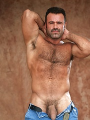 Big hairy gay bear in vintage photo session