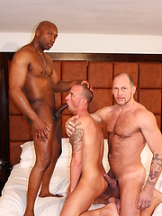 Champ Robinson, in a group bareback scene with Randy Harden and Austin Dallas