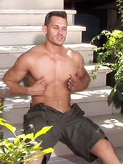 Tate Ryder shows his boner on a porch