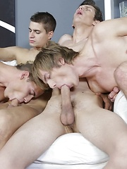 Cock-crazed foursome dishes up oodles of hot twink jizz!