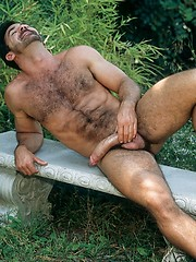 Hairy dad shooting in vintage scene