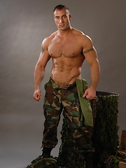 Muscle military man posing in different uniform