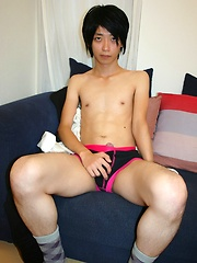 Solo Japanese guy plays with his cock and loves how rock hard it gets