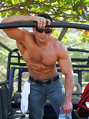 Strong macho posing outdoor
