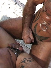 Bearded gay bear daddy bangs the asshole of a hot young Latin guy outdoors